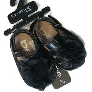 bebe Baby Infant Girls Black Flower Sandals Shoes